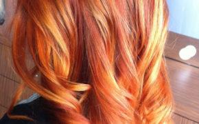 Балаяж на огненно-рыжих волосах