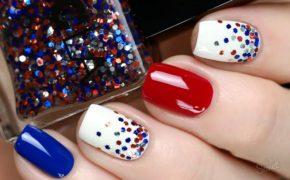 Разноцветные ногти с блёстками