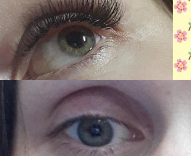 Ресницы до и после наращивание
