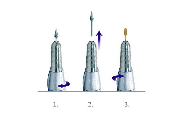 Схема смены насадки на аппарате с полуавтоматическим зажимом
