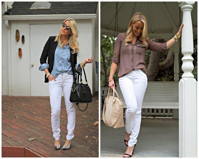 С чем сочетатать светлые джинсы