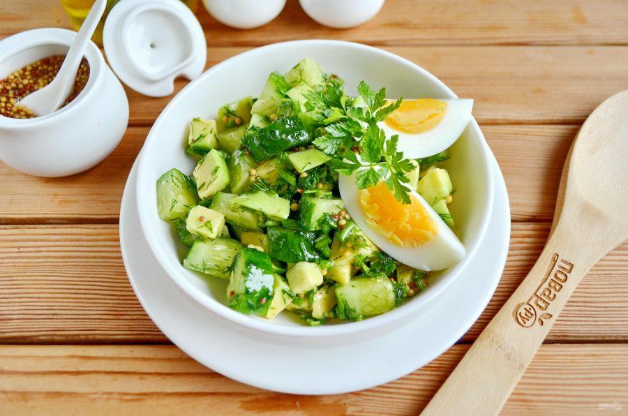 Салат из авокадо и огурца