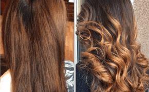 Шатуш на длинных и тёмных волосах