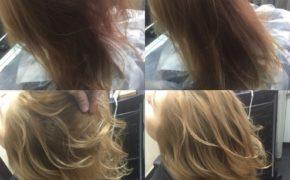 Шатуш на светлых волосах средней длины