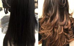 Шатуш на тёмных и длинных волосах