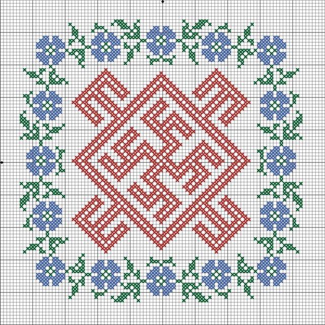 Схема вышивки Цветок Папоротника