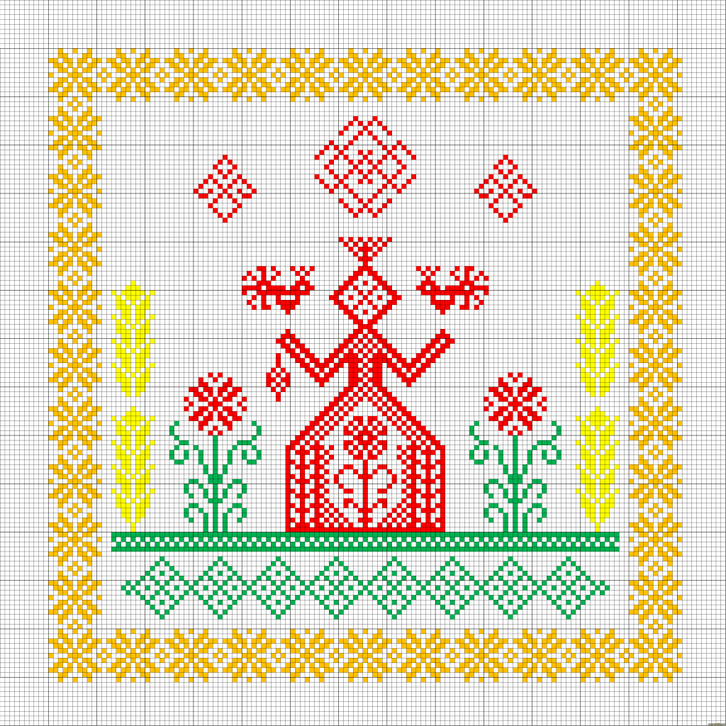 Схема вышивки оберега Макошь