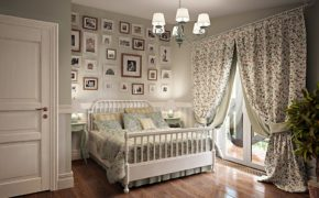 Цветочные шторы в прованс-спальне