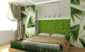Шторы в спальне эко-стиля