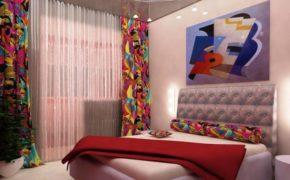 Шторы в спальном помещении стиля поп-арт