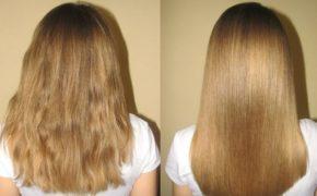Светлые волосы женщины до и после применения масла амлы на постоянной основе