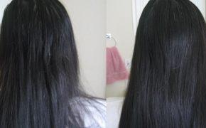 Тёмные волосы девушки до и после использования питательной маски на основе масла амлы