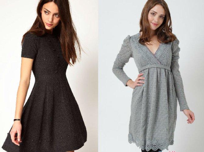Трикотажные платье др колен - темные и светлые цвета