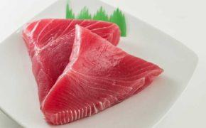 Филе тунца на белой тарелке