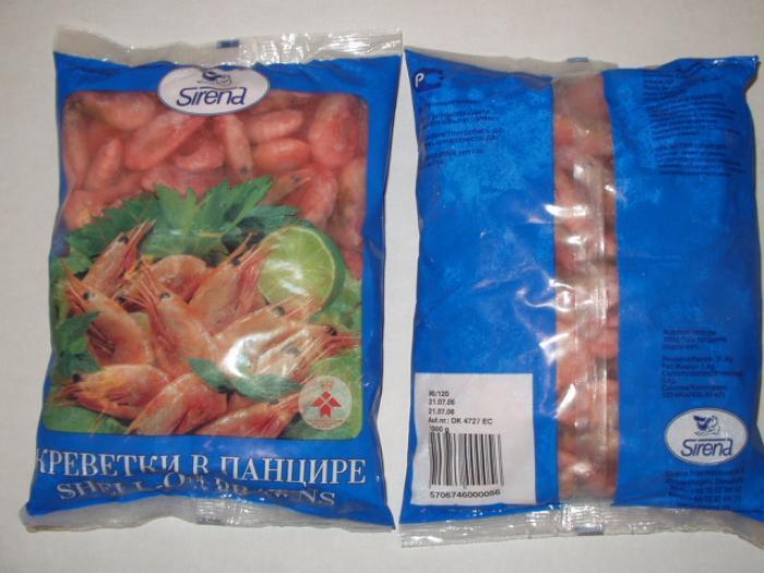 Упакованные креветки