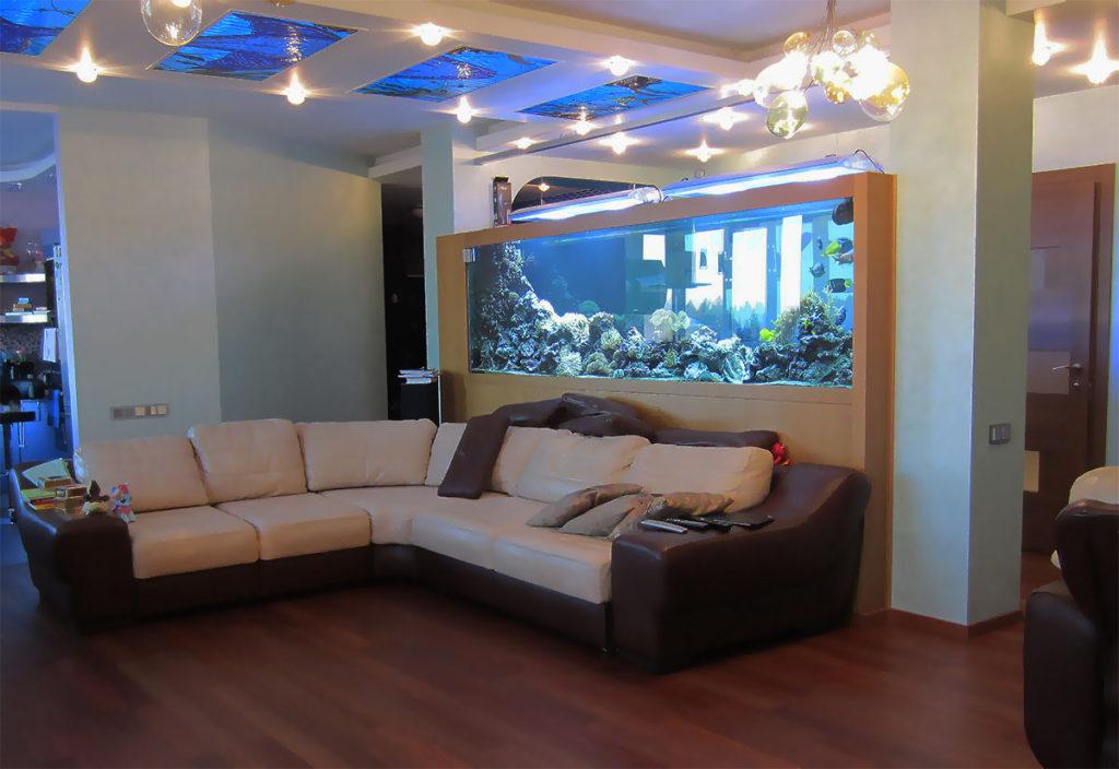 Большой аквариум, встроенный в стену