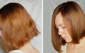 Волосы девушки до и после домашнего ламинирования волос с помощью касторового масла