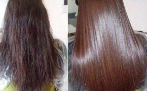 Волосы девушки до и после многочисленного применения масла для волос