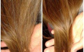 Волосы до и после применения касторки против чрезмерной сухости