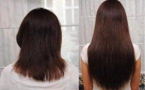 Волосы женщины до и после использования касторки для роста волос