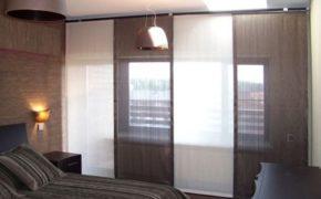 Японский дизайн штор в спальне