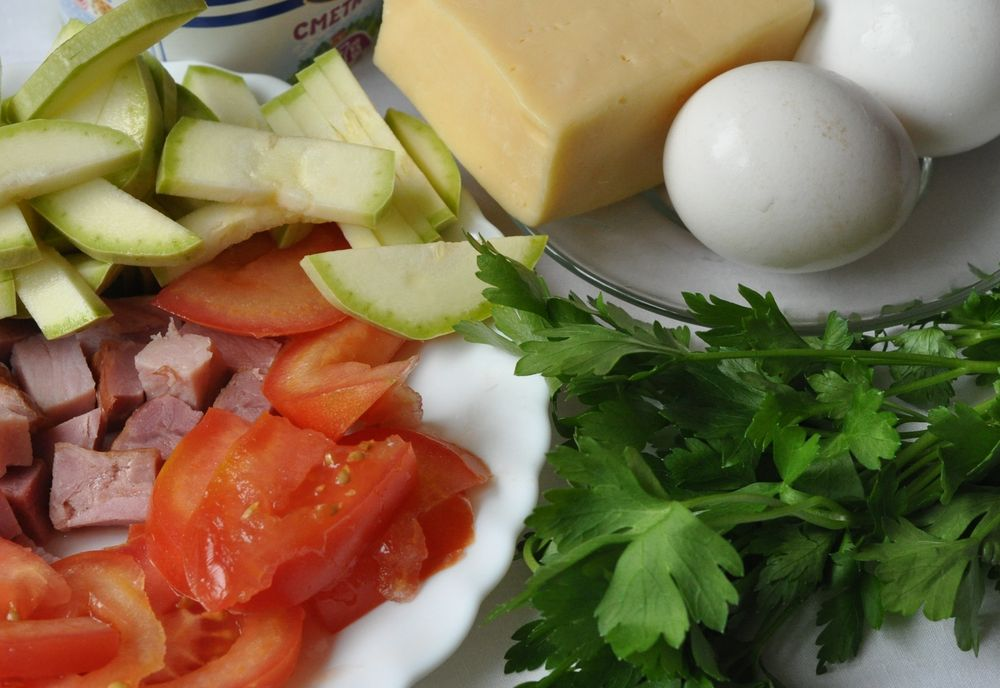 Яйца, овощи, зелень