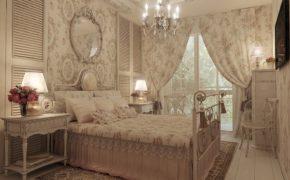 Занавески в спальне стиля шебби-шик