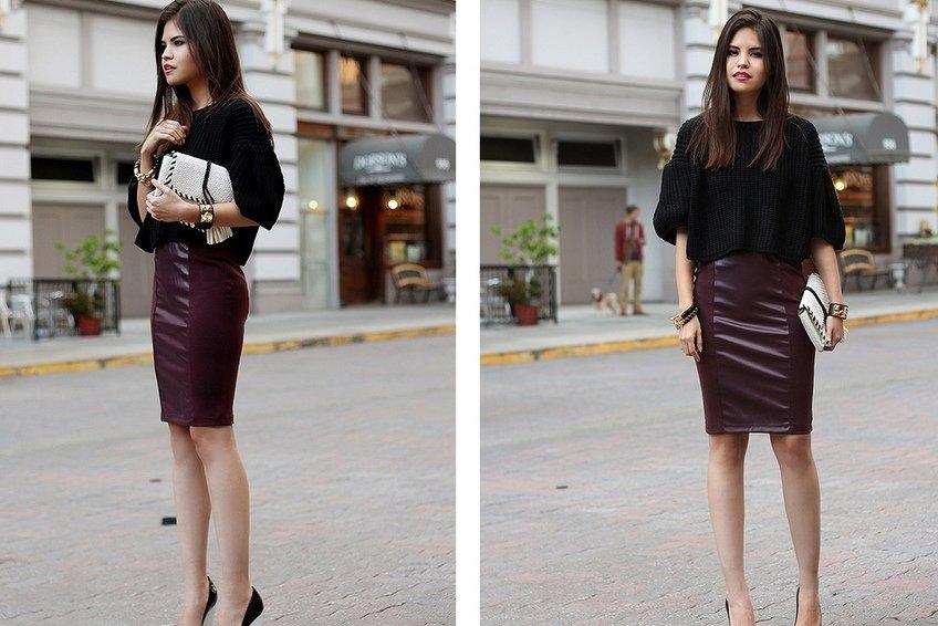 зауженная юбка с повышенной талией
