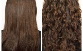 Завивка на тёмных влосах, фото до и после