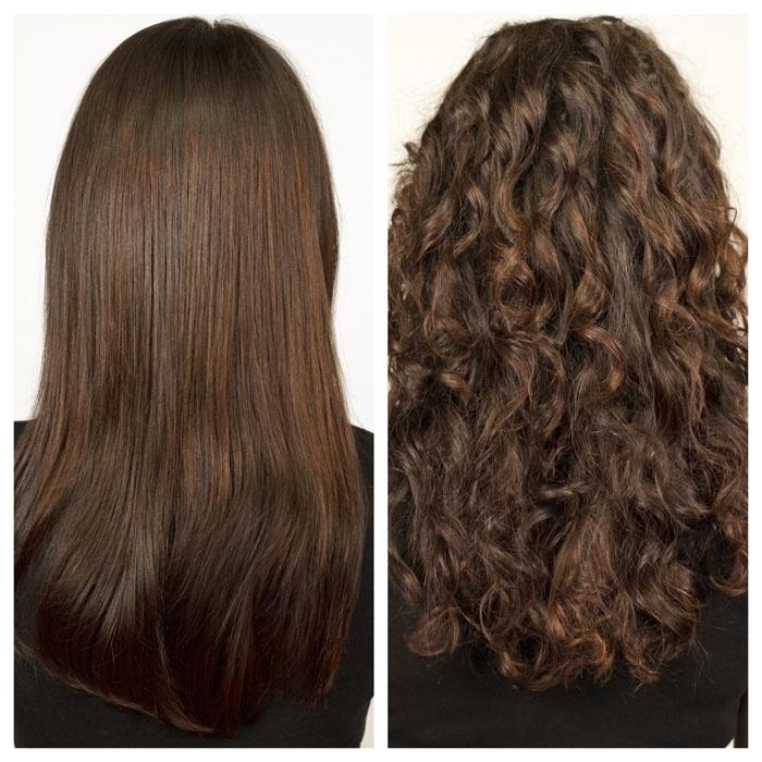Химия на длинные волосы фото крупные локоны до и после