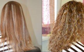 Завивка на мелированных светлых волосах, фото до и после