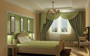 Зелёный цвет при оформлении оконного проёма спальни