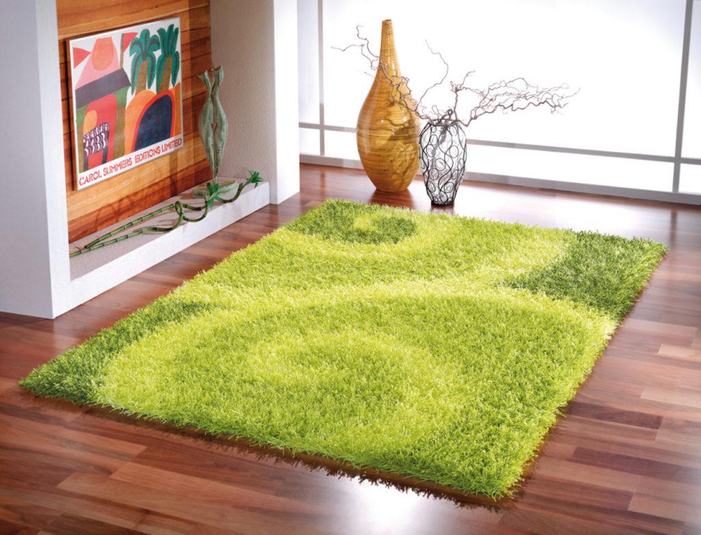 Зелёный ковер на полу