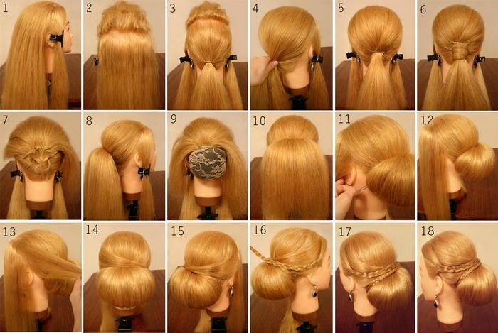Пошаговая инструкция по выполнению бабетты с косами