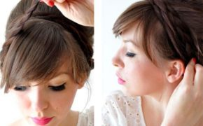 Женщина оборачивает косы вокруг головы