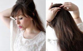 Женщина закалывает волосы